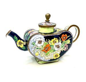 Kelvin Chen miniature enamel Heart-shaped Teapot Rare Flower Basket # 931 / 2000