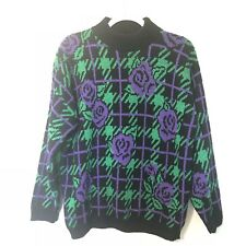 Vintage Purple Rose Houndstooth Oversized Sweater