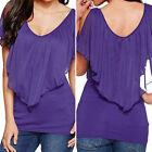 NEUF t-shirt femmes haut long blouse haut bretelles haut taille S M L XL Noir ❤