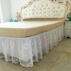 1pc Detachable Bed Skirt Wrap Around Lace Ruffle Home Decoration Hotel Clean