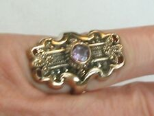 Edwardian Style Gold Plate Sterling Silver Ring Marcasite Amethyst Size 7+