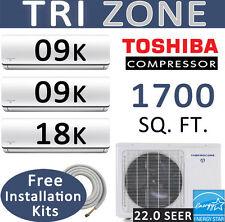 36,000 BTU Tri Zone Ductless Split Air Conditioner Heat Pump : 9000 x 2 + 18000