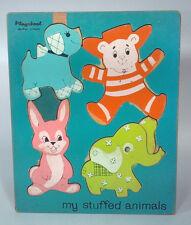Vintage Playskool My Stuffed Animals Wood Frame Tray Puzzle