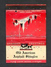 OLD AMERICAN ASPHALT SHINGLES Front Strike Christmas Matchbook Cover Matchcover