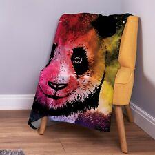 Panda Colour Explosion Design Soft Fleece Throw Blanket