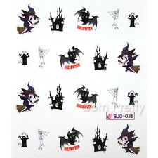 Nail Art Water Decals Transfer Stickers Halloween Theme Cobweb Witch Bat Tips