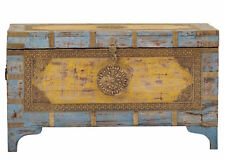 Anthropologie Style Moroccan Bohemian Coffee Table Trunk Painted Wood & Brass