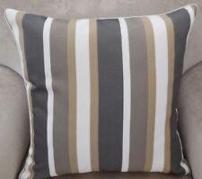 PAIR New CHARCOAL TAN & WHITE Striped 47cm SQUARE Cushion covers & piping trim