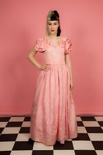 6b7fe478d8965 80S VINTAGE BRIDESMAID DRESS frilly pink ruffled sleeve dress hen do,amdram