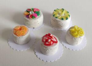 1:12 Kuchen Obst-Torten 5 Stück - Miniaturen für Puppenhaus Puppenstube