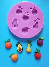 FRUITS ORANGE APPLE PEAR SILICONE MOULD FOR CAKE TOPPERS, CHOCOLATE, CLAY ETC