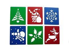 CHRISTMAS Stencils - Reindeer Santa Snowman Holly Tree Snowflake Plastic Pack 6