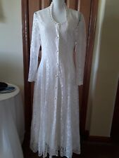 WOMENS DRESS Sz9 WESTERN FRONTIER IVORY LACE/PEARL A LINE SCOOP NECK 3/4L USA