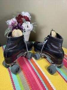 Vintage Super X3 Roller Skates Black Leather Sure Grip Wheels Kids Boy Size US 3