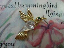 pin lapel hat gold tone lot-m Austrian crystal hummingbird tack style