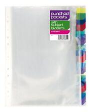 10 x A4 poinçonné poches & couleur sujet diviseur onglets