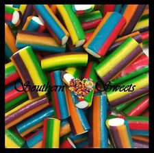 RAINBOW MINI CABLES PINK BLUE YELLOW GREEN WHITE FINI LOLLIES APROX100CT 500G