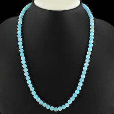 VERY BEAUTFUL 152.00 CTS NATURAL BLUE CHALCEDONY ROUND BEADS NECKLACE GEMSTONE