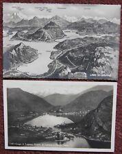 2x Vintage Lago di Lugano Lake Switzerland Unused Postcard Swiss Suisse