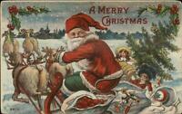 Christmas - Santa Claus Sleigh Reindeer #6605 c1910 Postcard
