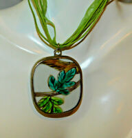 Painted Pottery Chaney Pendant Green Cord Ribbon Necklace extndr 3i 74