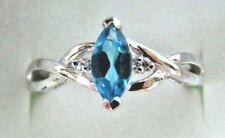 10K Solid White Gold Marquise TOPAZ Diamond Birthstone Engagement Ladies Ring