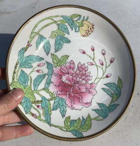 Oriental decorative bowl porcelain hand decorated and brass vintage pre owned