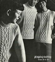 "#238 MAN'S LADIES CHILDRENS ARAN CABLE SWEATERS 26-44"" VINTAGE KNITTING PATTERN"