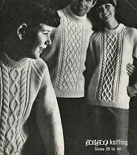 """#238 MAN'S LADIES CHILDRENS ARAN CABLE SWEATERS 26-44"""" VINTAGE KNITTING PATTERN"""
