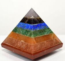 "2.1"" All Chakras Bonded Pyramid Layered Polished Gemstone Crystal Mineral India"