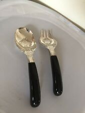 LOVELY PAIR OF EASTERN SILVER AND EBONY? HANDLED SERVERS