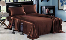 4-PC Brown Satin Silky Sheet Set Queen Size Flat Fitted Pillows 500TC