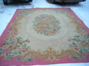 GORGEOUS ANTIQUE 1930'S WOOL CHINESE AUBSSON DESIGN HAND HOOKED RUG 9X12