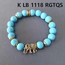 Gold Finished Turquoise Stones Elephant Shape Beads Stretchable Bangle Bracelet
