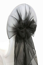 100 Black WEDDING ORGANZA HOODS SASHES CHAIR COVER WRAPS BOW SASH UK SELLER