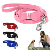 4ft Suede Small Dog Leads Leash for Doggie Cat Puppy Pink Red Black Blue Yorkie