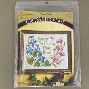 Better To Be Happy Than Wise stamped cross stitch kit vintage 70s new sealed