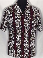 Aloha Republic Made in Hawaii Mens Large L Red Black White Floral Hawaiian Shirt