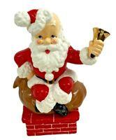 Vintage Atlantic Mold Ceramic Santa Claus Ringing Bell w/Music Box -14 Inch Tall