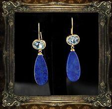Boucles d'Oreilles Crochet Plaqué Or Lapis Lazuli Bleu Goutte Plat Pendant QD3