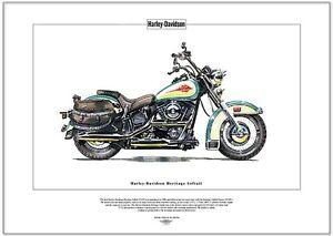 HARLEY-DAVIDSON HERITAGE SOFTAIL - Fine Art Print - Classic American Bike FLSTC