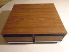 Vintage Wood Grain VHS Storage 22 VCR VHS Tape Holder Two Slide Plastic Drawers