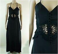 ASOS Dress - ASOS Button Through Lace Insert Black Occasion Maxi Dress