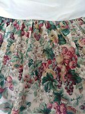 RARE Laura Ashley Floral Vine Full Bed Skirt Dust Ruffle Grapes Berries