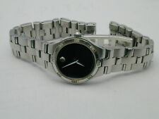 Movado Juro Diamond Ladies Black Dial Swiss STAINLESS SAPPHIRE WATCH NEW BATTERY
