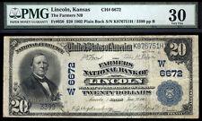 $20 1902 PB The Farmers National Bank of Lincoln Kansas TOUGH BANK ONLY 6 LARGE