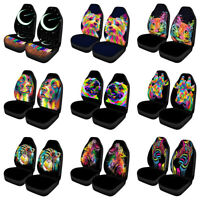 Black Car Seat Covers Front Seats Only Full Set of 2PC Colorful Animal Printed