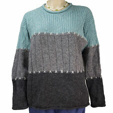 Northern Isles Ladies Aqua/Gray Colorblock Ribknit Wool Sweater Size Small