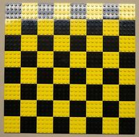 x64 NEW Lego Plates 4x4 Black & Yellow Baseplates MAKES CHESS Game Board