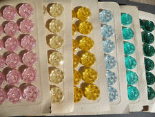 Vintage Sparkling Jewel Buttons- 24 on Card - 2cm - Choice of 11 colours
